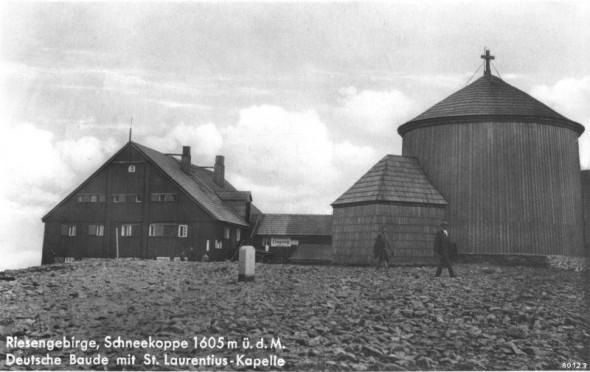 Śnieżka i Kaplica św. Wawrzyńca na starej pocztówce